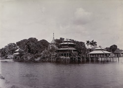 View of the Gaungzegyun Pagoda, [Gaungse Kyun Island near Moulmein].